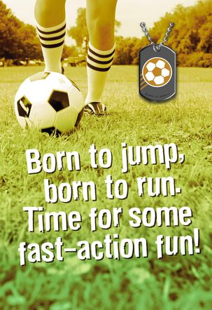 Soccer Kickin' Encouragement Card with Dog Tag
