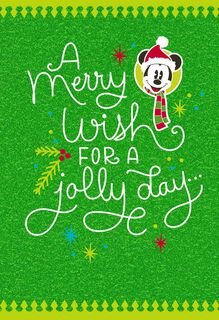 Mickey Mouse Merry Wishes Christmas Card,