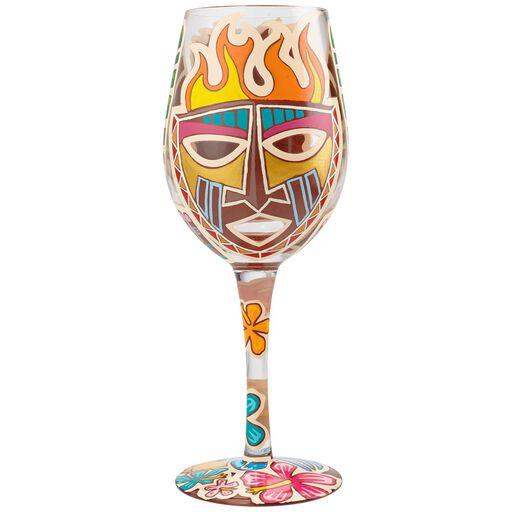 Tiki Handpainted Wine Gl 15 Oz