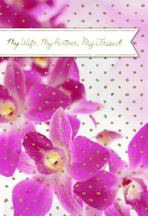 Pink Orchids Mother's Day Card for Wife