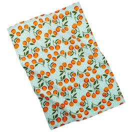 Peaches on Teal Breakfast Cotton Tea Towel, , large