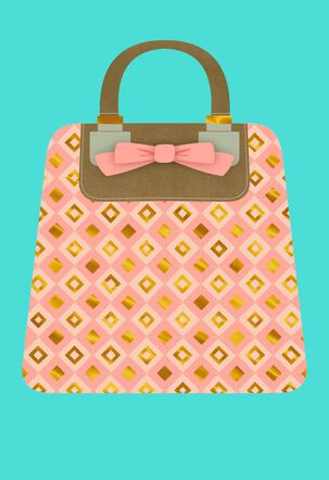 Patterned Pink Purse Blank Card