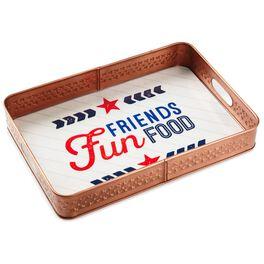 Friends, Fun, Food Patriotic Metal Serving Tray, , large