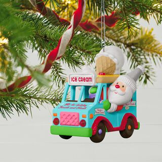 Santa's Sweet Surprise Ice Cream Truck Light and Music Ornament,