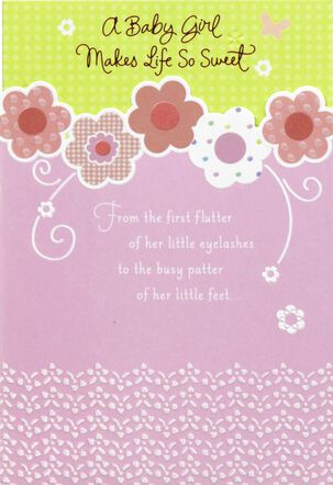 Pink Flowers and Swirls Baby Girl Congratulations Card