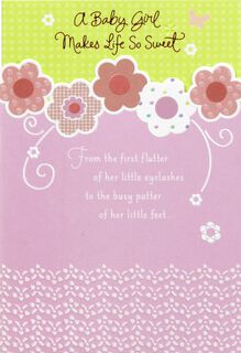 Pink Flowers and Swirls Baby Girl Congratulations Card,