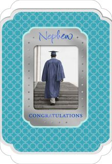 Cap and Gown Photograph Graduation Card for Nephew,