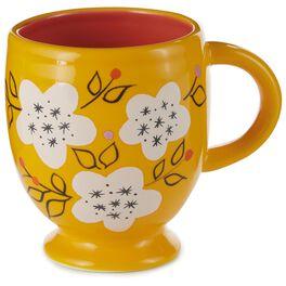 Bright and Cheery Yellow Ceramic Mug With White Flowers, , large