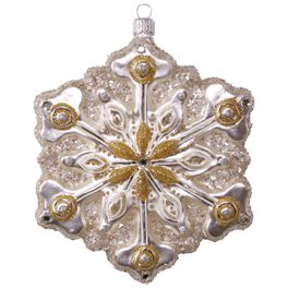 Sparkling Snowflake Premium Glass Ornament, , large
