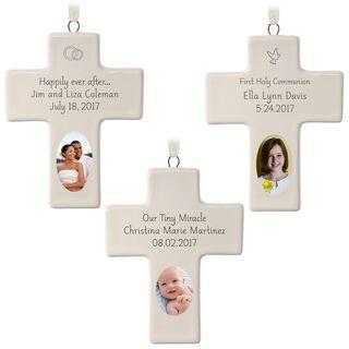 Ceramic Cross Personalized Ornament,