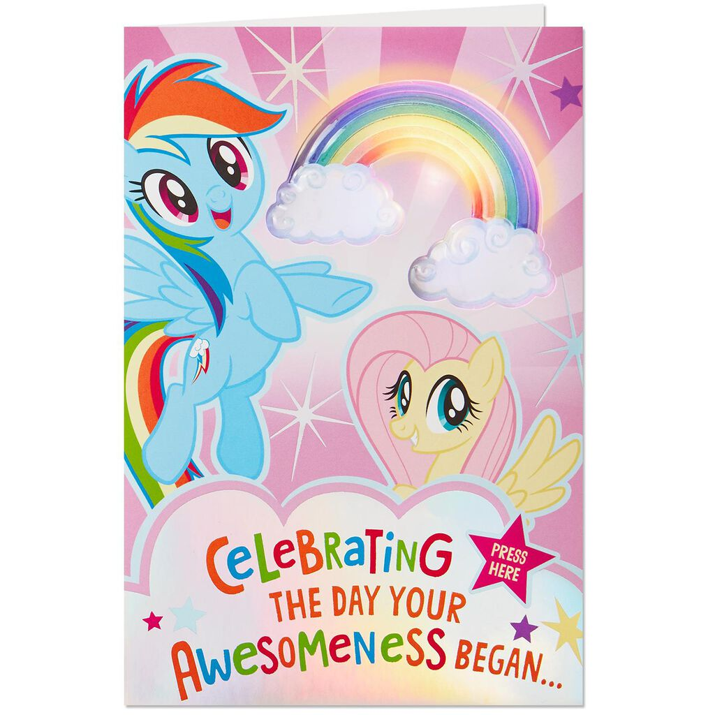 My Little PonyR Awesomeness Musical Birthday Card With Light