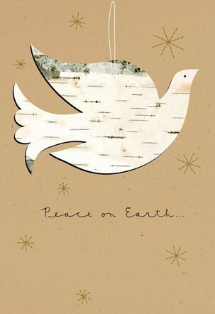 Peace on Earth Christmas Card with Dove Ornament