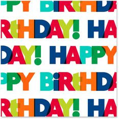 Happy Birthday Bold Colorful Letters Wrapping Paper Roll