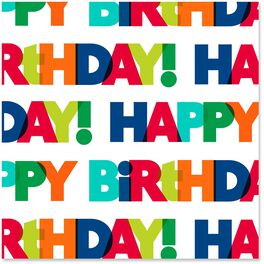 Happy Birthday Bold Colorful Letters Wrapping Paper Roll, 27 sq. ft., , large