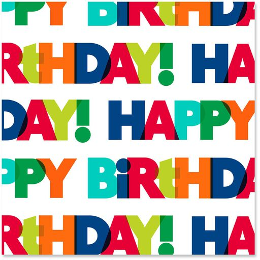 Happy Birthday Bold Colorful Letters Wrapping Paper Roll 27 Sq Ft