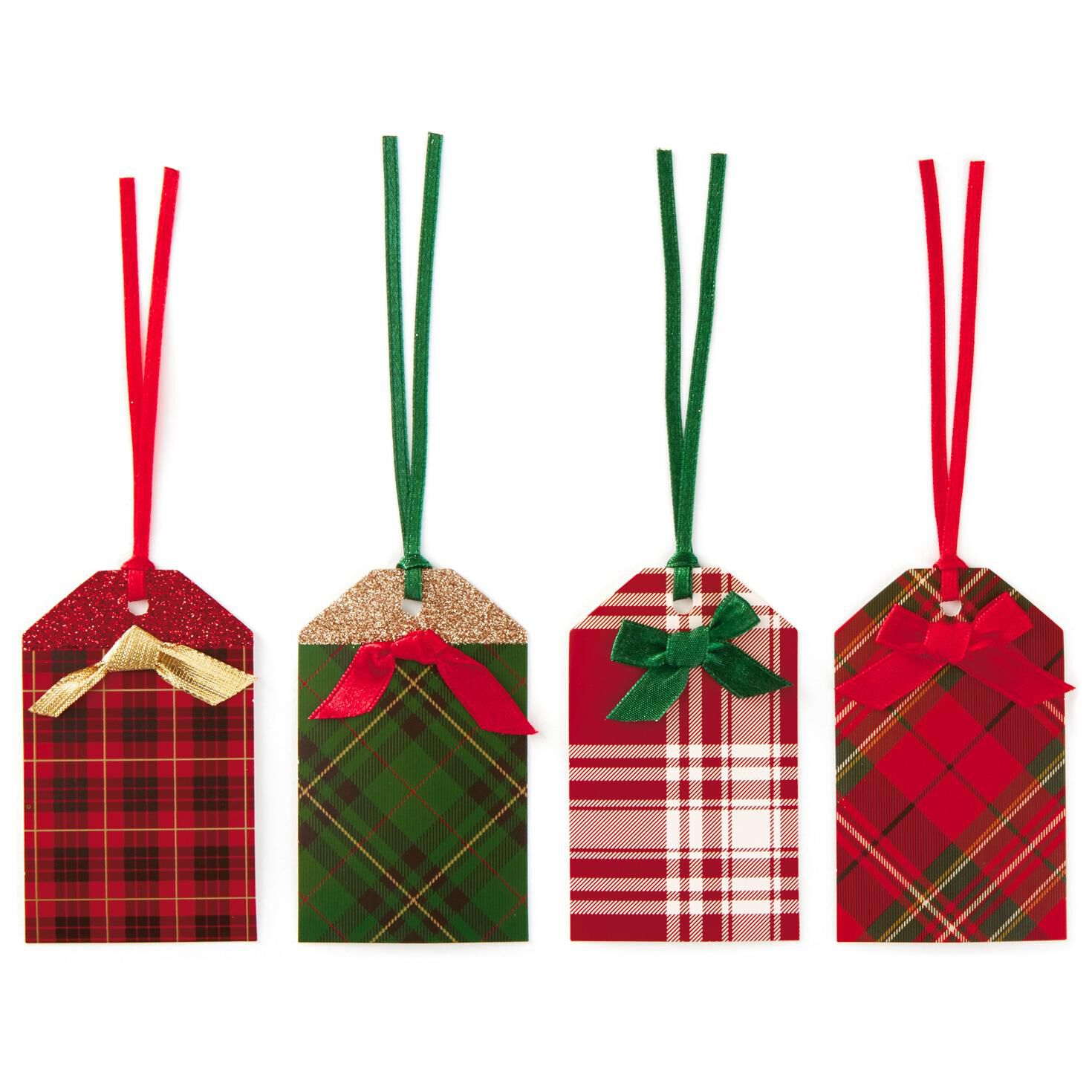 festive plaid christmas gift tags with ribbons pack of 12 seals and gift tags hallmark - Plaid Christmas Ribbon