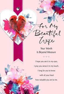 Lovebirds Religious Valentine's Day Card for Wife,