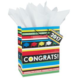 "Congrats 2017 Large Gift Bag With Tissue Paper, 13"", , large"