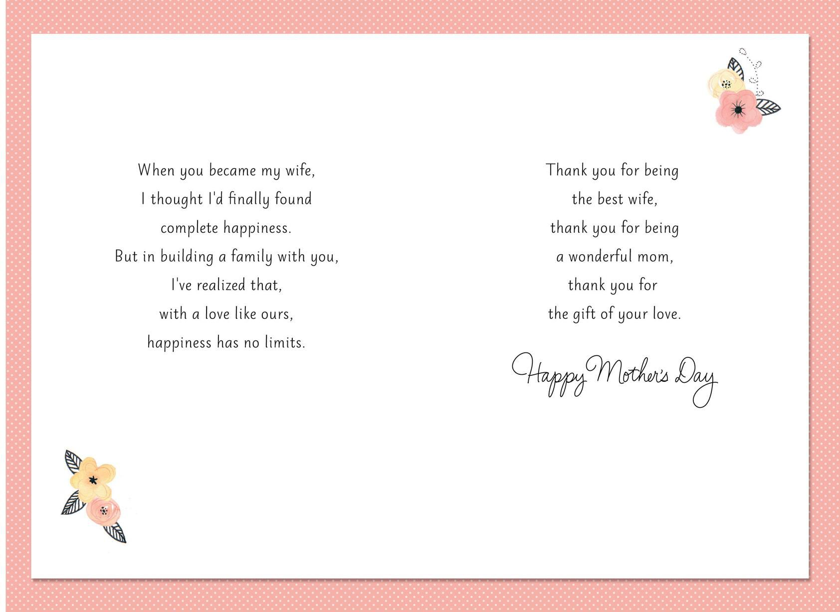 mothers day card from husband