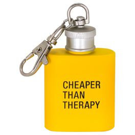 About Face Cheaper Than Therapy Keychain Flask, , large