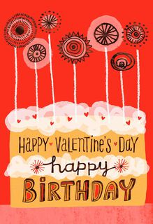 Birthday Cake and Candles Valentine's Day Card,