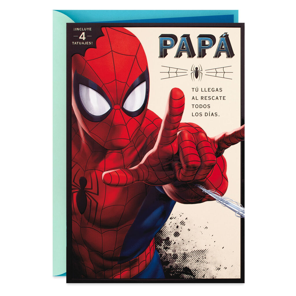 b9e6a3e547af4 Marvel Spider-Man Spanish-Language Father's Day Card With Temporary Tattoos  - Greeting Cards - Hallmark