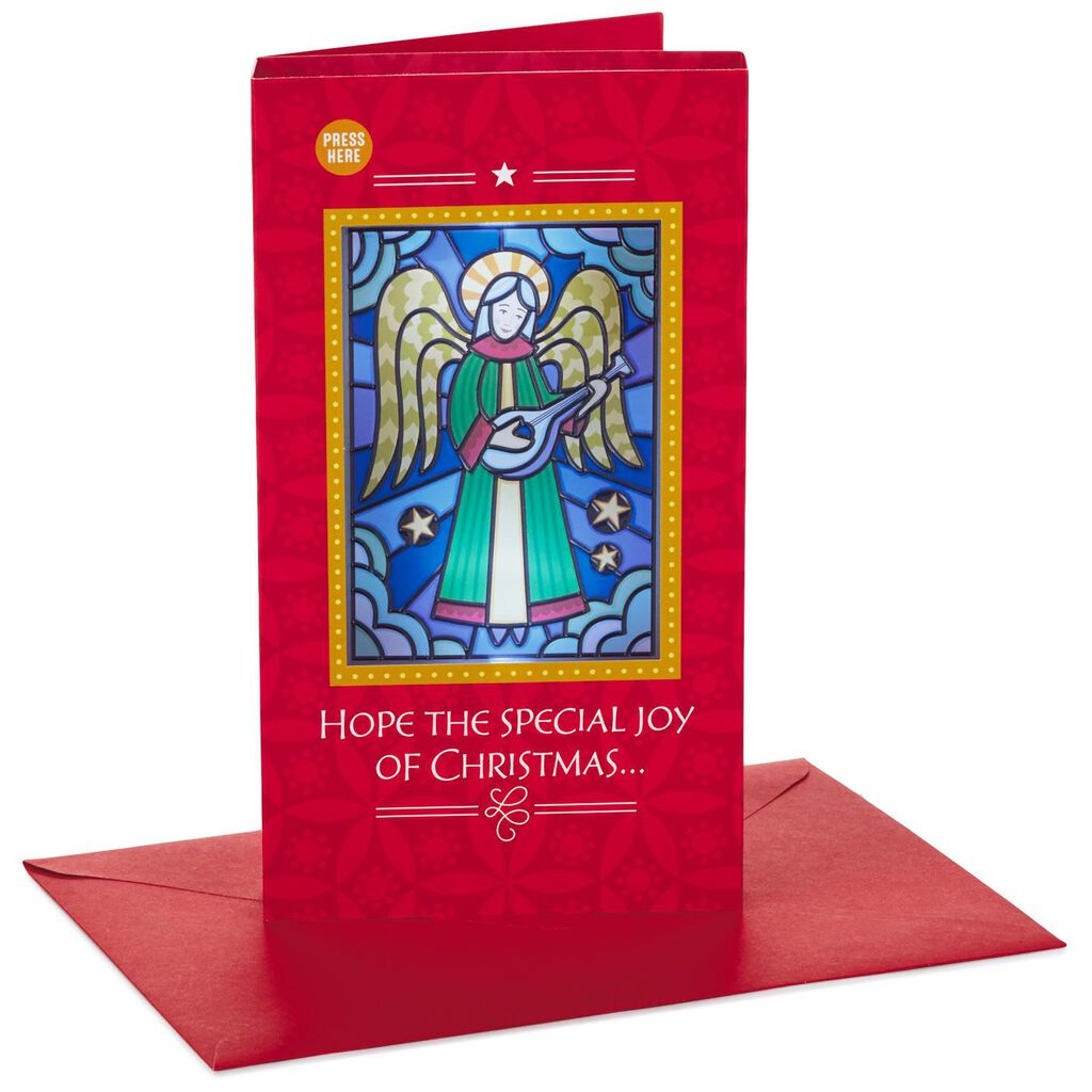 Angel Mandolin Musical Christmas Card With Light Greeting Cards