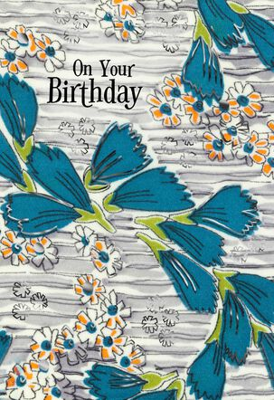 Blue Ginkgo Leaves on Gray With Foil Birthday Card