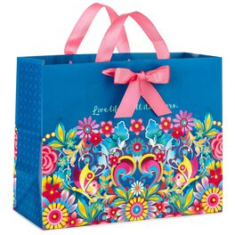 "Catalina Estrada Blue Floral Large Gift Bag, 10.5"", , large"
