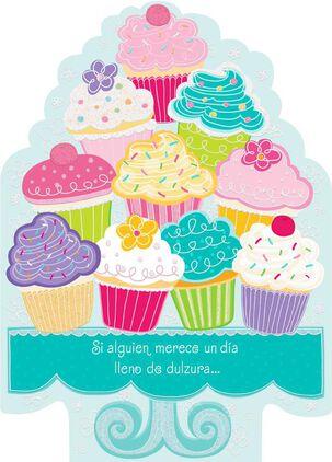 "Pile of Cupcakes Large Spanish-Language Birthday Card, 12"""