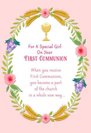 Chalice and Wreath of Flowers First Communion Card for Girl
