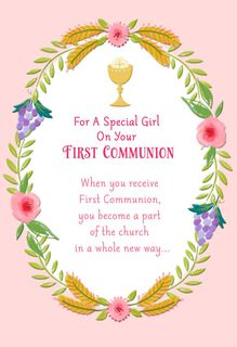Chalice and Wreath of Flowers First Communion Card for Girl,