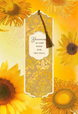 Gratitude Is Like Food for the Soul Thanksgiving Card With Bookmark