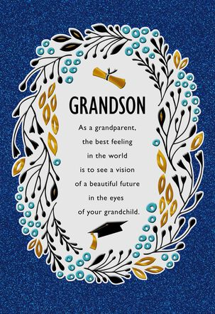 Ivy and Graduation Cap Greeting Card for Grandson