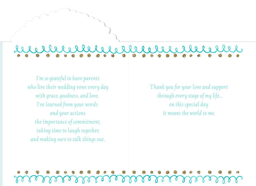 for my parents on my wedding day card