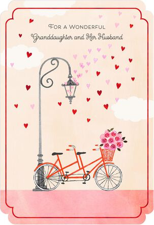 Bicycle Valentine's Day Card for Granddaughter and Her Husband