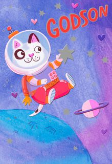 Astronaut Cat Valentine's Day Card for Godson,