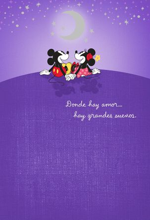 Mickey and Minnie Where There's Love Spanish-Language Birthday Card