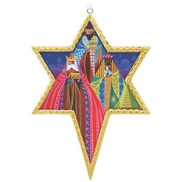 Los Tres Reyes Magos Glass Star Ornament, , large