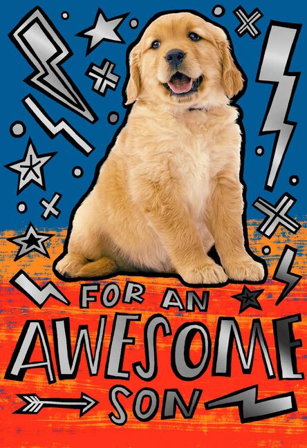 For An Awesome Son Puppy Dog Birthday Card Greeting Cards Hallmark