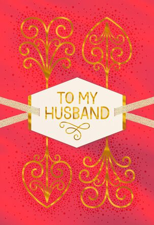 Gold Foil Scrollwork Valentine's Day Card for Husband