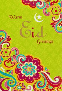 Bright Floral Flourish Eid al-Fitr Card,