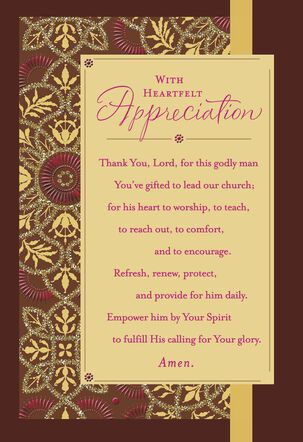 Flower Pattern With Prayer Pastor Appreciation Card