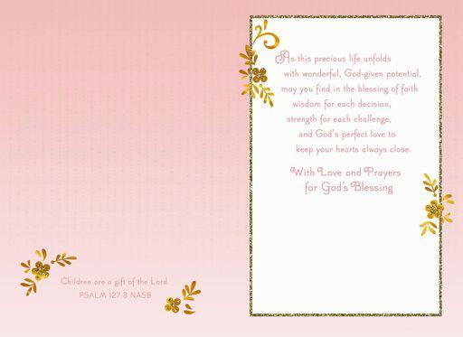Baby Feet Religious Baptism Card for Girl,