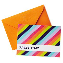 Striped Party Time Invitations, Pack of 10, , large