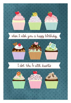 Hearts and Cupcakes Birthday Card