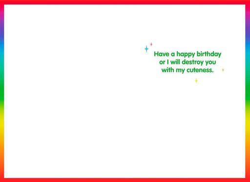 Destructive Cuteness Birthday Card,