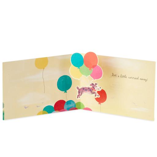 Get A Little Carried Away Dog Mini Pop Up Birthday Card