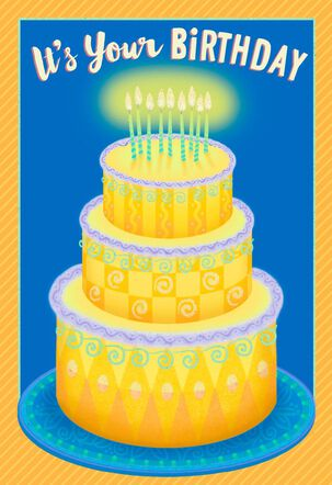 3-Tiered Cake With Glowing Candles Birthday Card