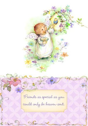 Angel Birdhouse Religious Friendship Card